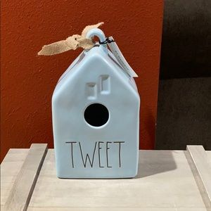 Rae Dunn blue tweet birdhouse.